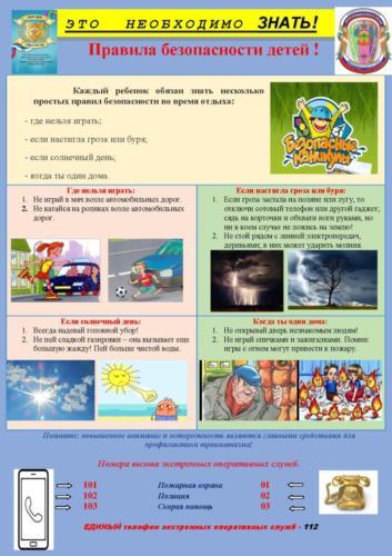 Правила безопасности детей листовка июль 2020